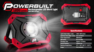 work zone rechargeable led work light powerbuilt 1200 lumen rechargeable led worklight youtube