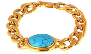 stainless gold bracelet images Valchand jewellers gold and blue salman curb 18k gold stainless jpg