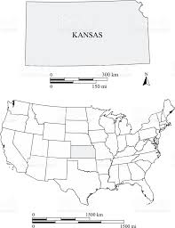 Usa Map Black And White by Kansas State Of Usa Map Vector Outlines With Scales Of Miles And
