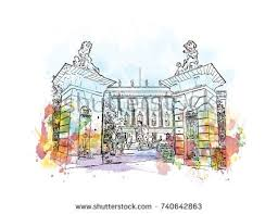 watercolor sketch splash berlin germany museum stock vector