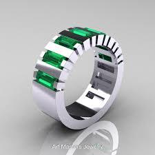 mens engagement rings white gold modern 14k white gold baguette emerald tank mens wedding ring r395