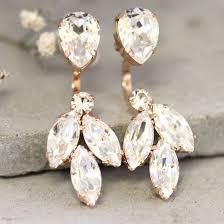 Chandelier Earrings Bridal Ear Jacket Earrings Bridal Crystal Clear Chandelier Earrings