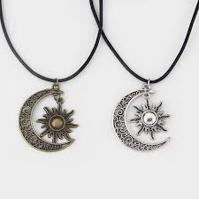 aliexpress moon necklace images Fashion crescent moon and sun charm pendant black leather boho jpg