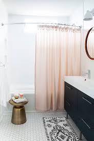 pink shower curtain with pom pom trim chic black and white