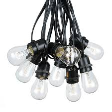 Commercial Grade Patio Light String 50 clear s14 heavy duty string light sets on black wire novelty
