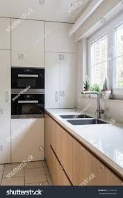 light oak kitchen cabinets modern modern kitchen white light oak integrated stock photo edit