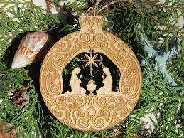 manger scene wood nativity christmas ornament laser engraved