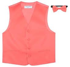 Pink Color Amazon Com Boy U0027s Dress Vest U0026 Bow Tie Solid Coral Pink Color Bow