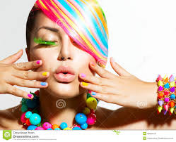 hair makeup colorful makeup hair and accessories royalty free stock photos