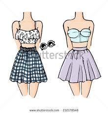 fashion sketch drawing girls beautiful looks stock vector