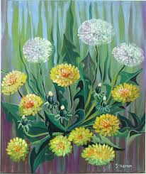 acrylic painting canvas art dandelion art wall art home decor