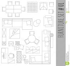 architectural symbols for floor plans standard furniture symbols used in architecture stock vector