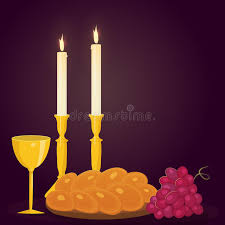 shabbat candles shabbat candles kiddush cup and challah stock vector