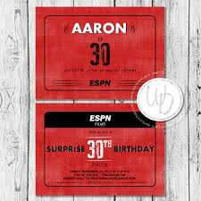 30th surprise party invitations espn sports themed 30th birthday invitation by wentroth designs