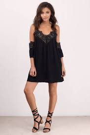 black lace dress black dress cold shoulder dress half lace dress shift