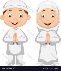 muslim kid cartoon royalty free vector image vectorstock