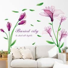 Aliexpress Home Decor Aliexpress Com Buy Removable Purple Flower Fantasy Wall Sticker