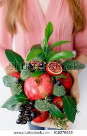 bouquet of fruits original edible bouquet fruits vegetables stock photo