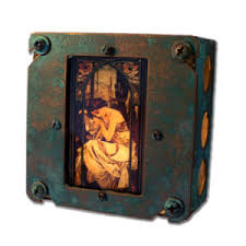 Upcycled Art - retro upcycled art nouveau alphonse mucha night light
