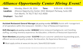 taco bell hiring event at alliance opportunity center workforce