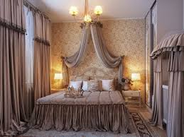 picture of fancy luxury couple bedroom design canopy bed curtains