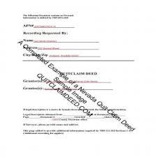 example of a completed nevada quit claim deed document example for