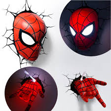 3d wall art nightlight spiderman face decor ideas