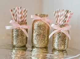 Gold And Pink Party Decorations Mason Jar Centerpiece Baby Shower Ideas Baby Shower Decorations