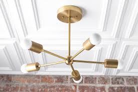 Brass Ceiling Light Gold Chandelier Brass Ceiling Light Modern Fixture Sputnik