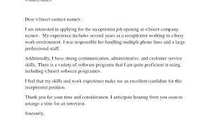 Example Cover Page For Resume cover letter for receptionist examples