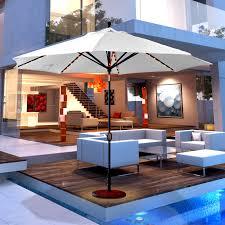 Tilting Patio Umbrella by Galtech Sunbrella 11 Ft Auto Tilt Patio Umbrella With Led