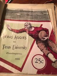 aggies longhorns football program 1931 aggie football programs