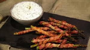 bacon wrapped asparagus with herbed goat cheese dip recipe the