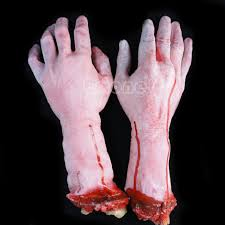 1pc lifesize human hand arm bloody dead body parts haunted house