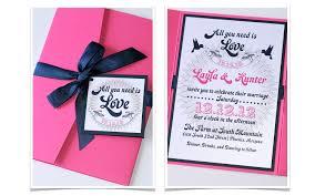 layla pocket fold wedding invitation sample pink navy