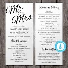 tea length wedding program template printable wedding program template mr mrs instant