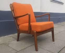 Orange Chair by Mid Century Danish Stained Oak Orange Easy Chair By Ole Wanscher