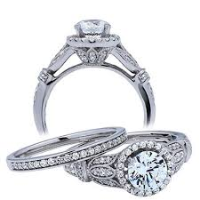 Vintage Wedding Ring Sets by 1 Carat Round Antique Wedding Ring Set For Her In 14k White Gold
