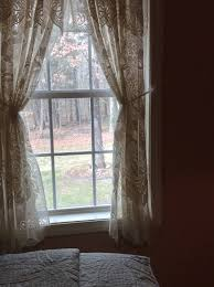 one pair cream color lace curtains with stylish attached valance