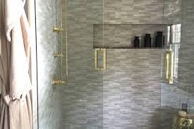 Brass Shower Door White Glass Shower Door With Brass Handle Filled With Gray Tiles