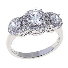 zirconia stone rings images Absolute 1 85ctw cubic zirconia sterling silver round pav halo 3 jpg
