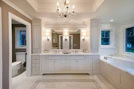 bathroom crown chandelier and wall sconces for traditional