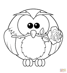 owl with rose coloring page free printable coloring pages