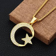 luxury gold necklace images Wholesale hiphop moon star pendant necklaces for men high quality jpg