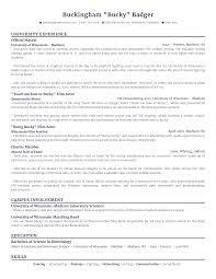 Resume Me Just For Fun University Of Wisconsin U0027s Bucky Badger U0027s Resume