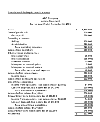 income statement free pdf excel word documents download free