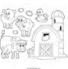 swine clipart of black and white farm animals and a barn with