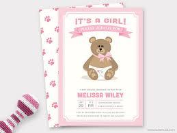 teddy baby shower girl teddy baby shower invitation printable baby shower