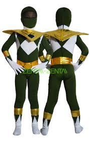 Power Ranger Halloween Costumes Power Ranger Kids Costume Mighty Morphin Green Gold Lycra