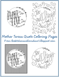look to him and be radiant more mother teresa quote coloring pages